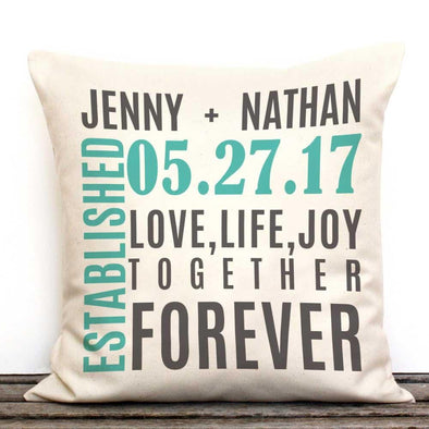 Established Personalized Decorative Canvas Throw Pillow.