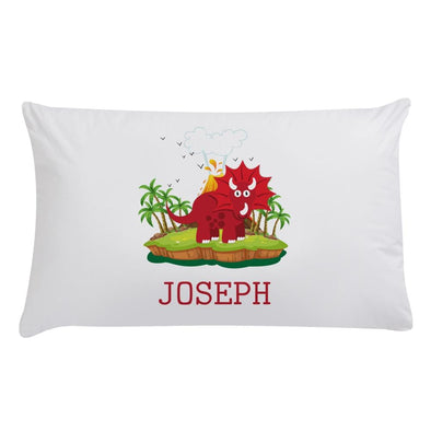 Custom Kids Triceratops Dinosaur Sleeping Pillowcase.