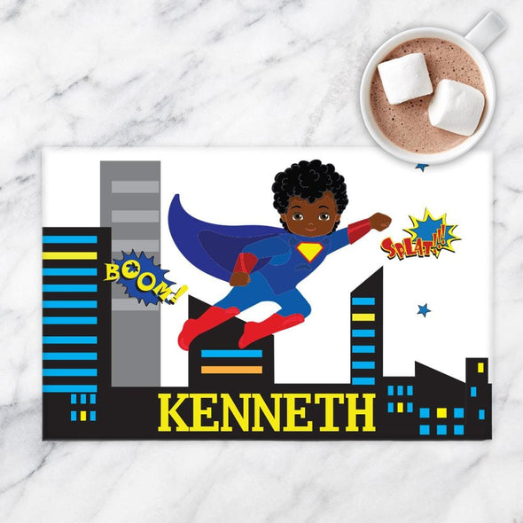 Personalized Kids Superhero Placemat.