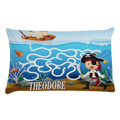 Personalized Pirate Maze Kids Sleeping Pillowcase.