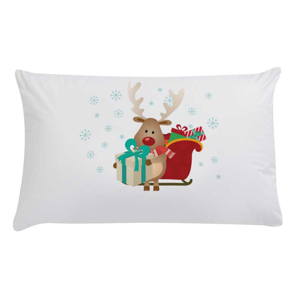 Personalized Reindeer Kids Christmas Sleeping Pillowcase.