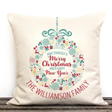 Custom Merry Christmas And A Happy New Year Canvas Pillow Cover