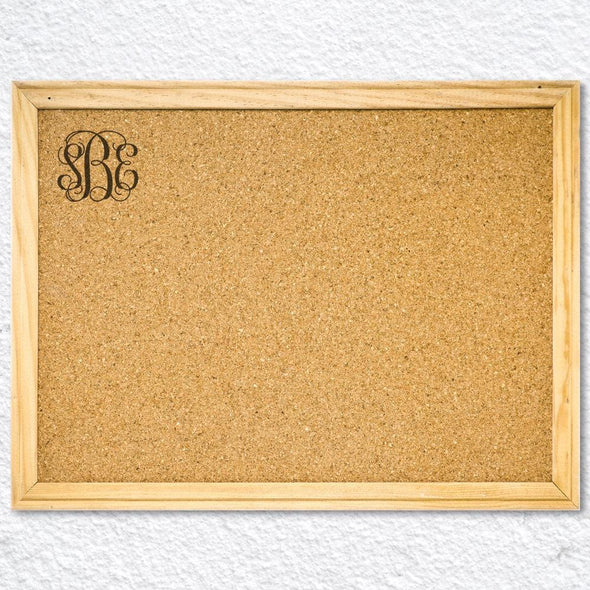 Monogram Wood Framed Cork Memo Board w/ Push Pins | Personalized School Supplies.