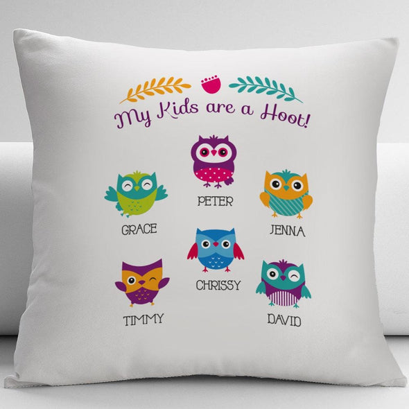 Flash Sale - My Kids Are A Hoot Personalized Pillow Cushion Cover.