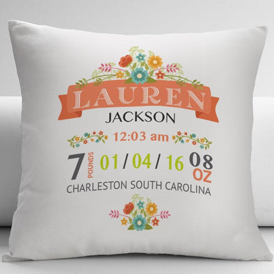 New Born Baby Birth Stats Personalized Decorative Cushion Cover