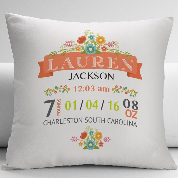 New Born Baby Birth Stats Personalized Decorative Cushion Cover.