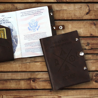 Not All Who Wander Are Lost Custom Leather Passport Holder.