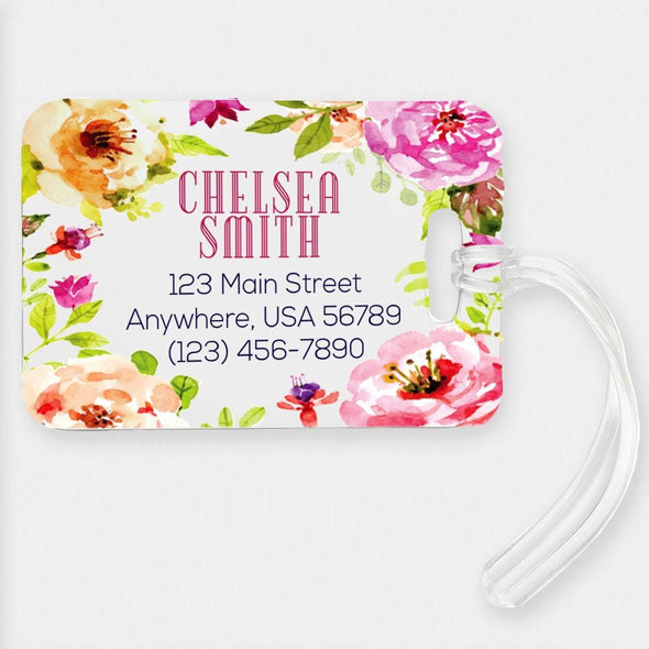 Personalized Spring Flowers Luggage Tag.