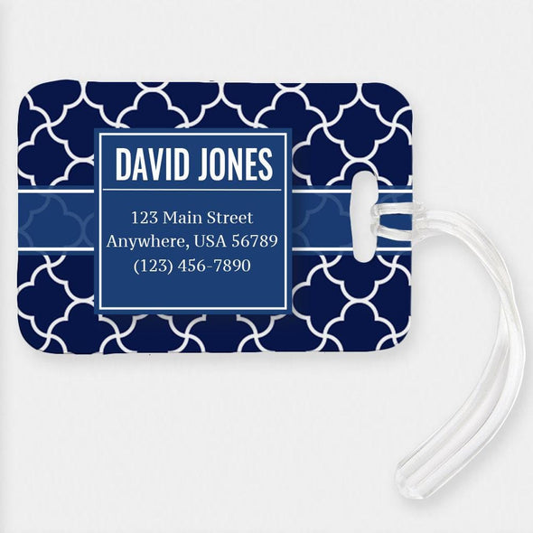 Personalized 123 Main Street Luggage Tag.