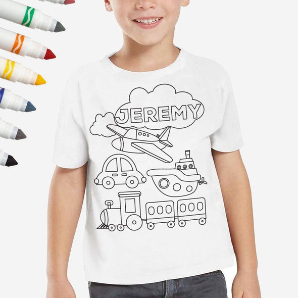 Exclusive Sale - Personalized Add Color Kid's Planes Trains & Automobiles T-Shirt.
