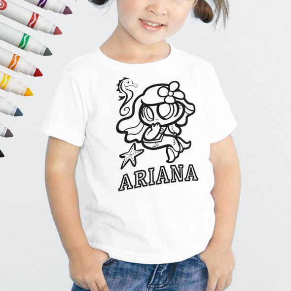 Exclusive Sale - Personalized Add Color Kid's Mermaid T-Shirt
