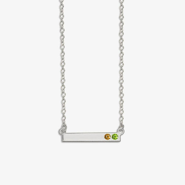 Sterling Silver Personalized Birthstone Bar Necklace.