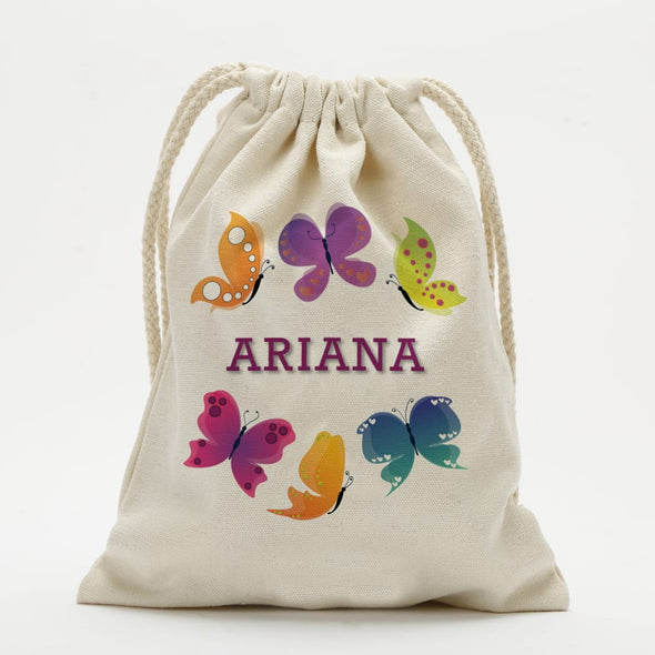 Personalized Butterfly Kids Drawstring Sack.