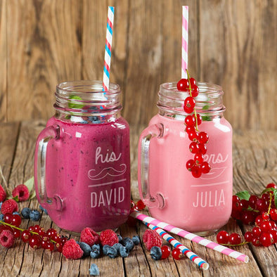 Personalized Couples His and Hers Glass Mason Jars.