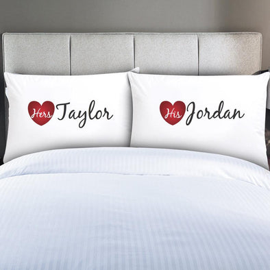 Personalized Couples His & Hers Sleeping Pillowcases.