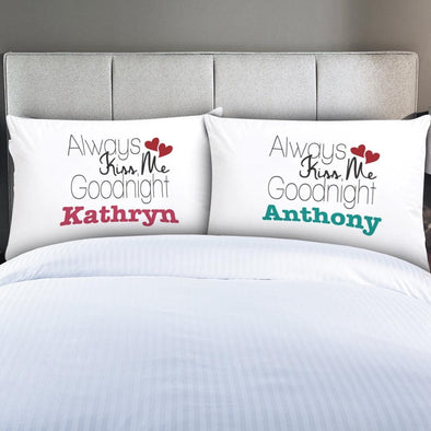 Personalized Couples Always Kiss Me Sleeping Pillowcases