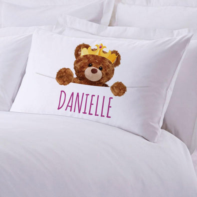 Personalized Crowned Teddy Bear Sleeping Pillowcase.