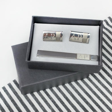 Personalized Cufflinks & Tie Bar in Black Gift Box.