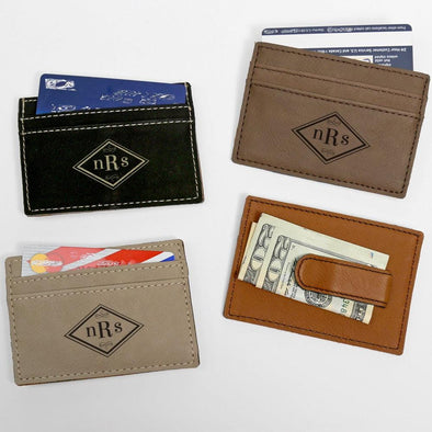 Custom Diamond Shaped Monogram Leatherette Money Clip.