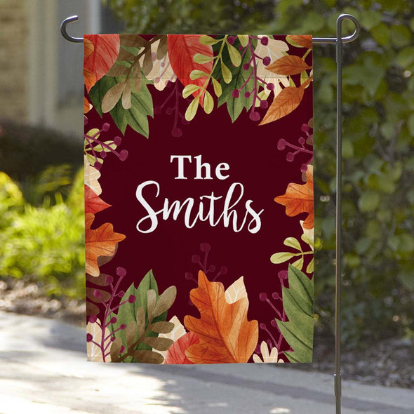 Fall Personalized Family Name Garden Flag