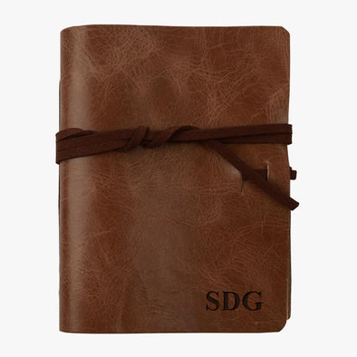 Personalized Genuine Soft Leather Wrap Journal - Medium