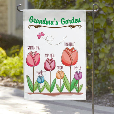 Personalized Grandma's Flower Garden Flag.