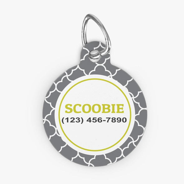 Personalized Grey Quatrefoil Design Round ID Dog Tag.