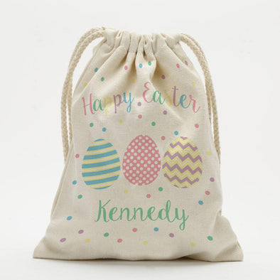 Personalized Happy Easter Drawstring Sack.