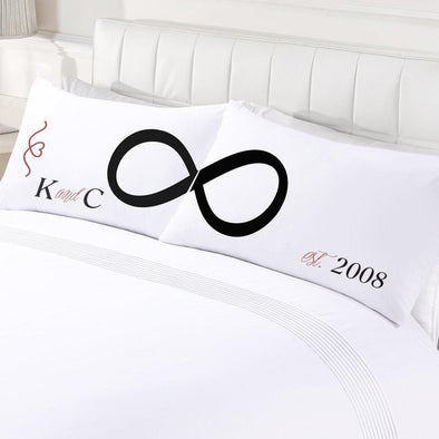 Personalized Infinite Love Couples Sleeping Pillowcase Set