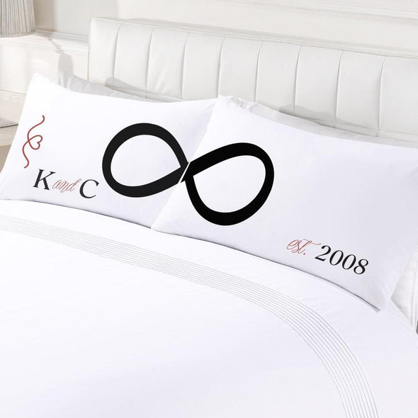 Personalized Infinite Love Couples Sleeping Pillowcase Set.