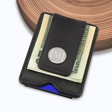 Personalized Initial Leather Money Clip.