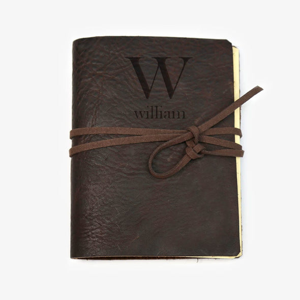 Personalized Initial Genuine Leather-Bound Journal - Medium.