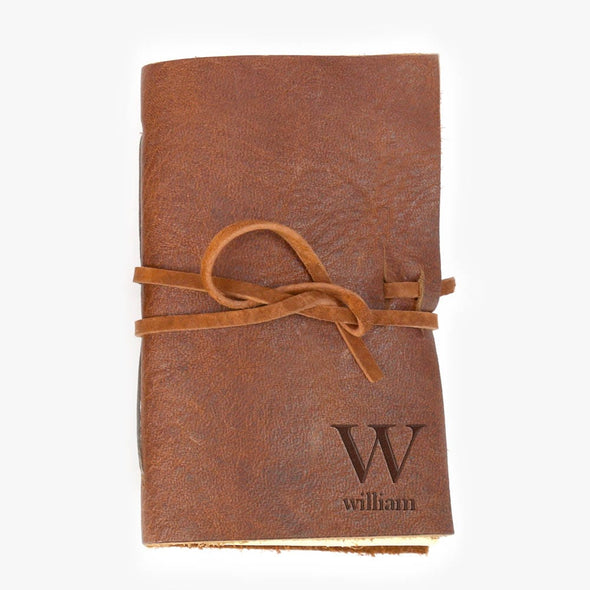 Personalized Initial Genuine Leather-Bound Mini Journal