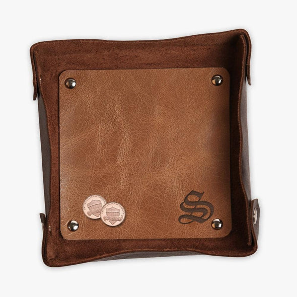 Personalized Initial Two Toned Genuine Leather Stash Tray.