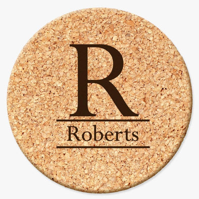 Personalized Initial Round Cork Coasters.