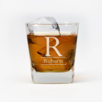 Personalized Initial Whiskey Glass.
