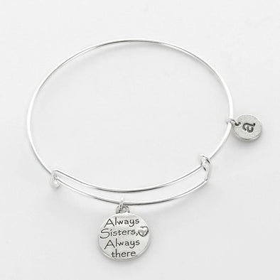 Personalized Inspirational Bangle, Always Sisters Always There.