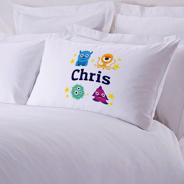 Personalized Kid's Little Monsters Sleeping Pillowcase.
