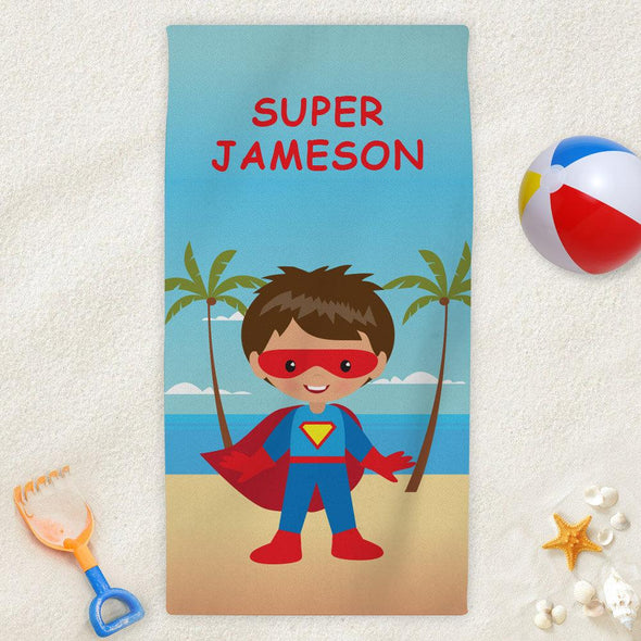 Superhero Character Personalized Beach Towel for Kids.