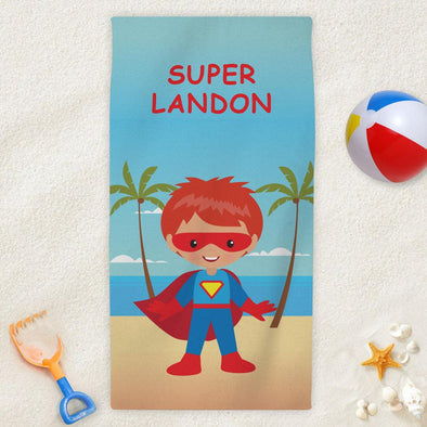 Superhero Character Personalized Beach Towel for Kids