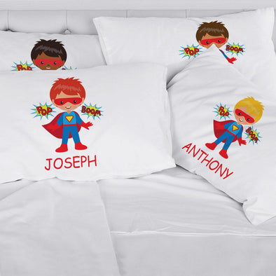 Personalized Kids Superhero Sleeping Pillowcase | Custom Pillow for Kids.