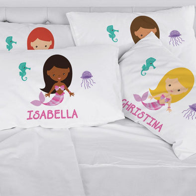Personalized Kids Mermaid Sleeping Pillowcase | Custom Pillow for Kids.