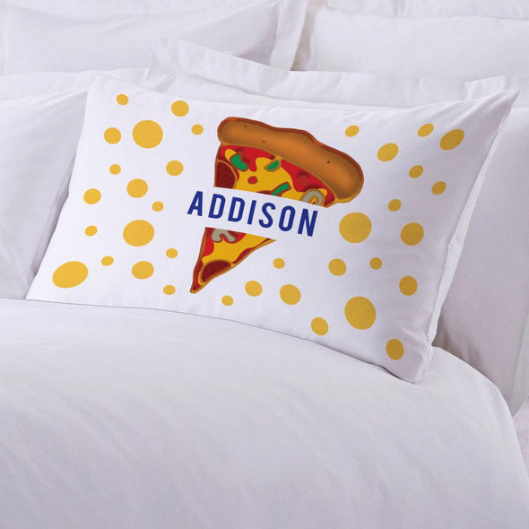 Personalized Kids Name Pizza Sleeping Pillowcase.