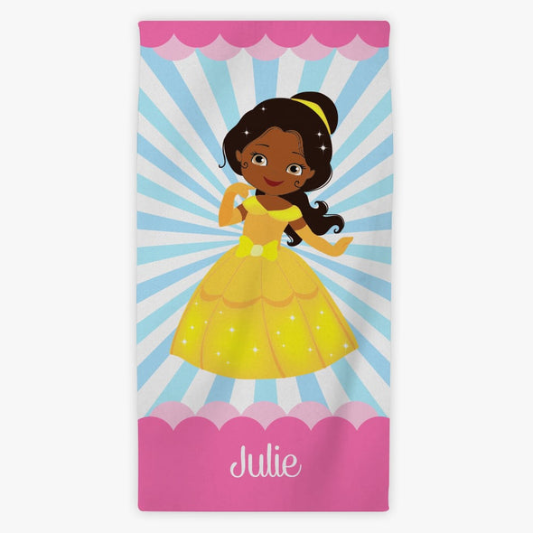 Kids Princess Character Personalized Mini Beach Towel