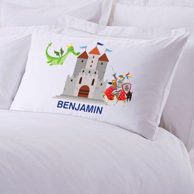 Personalized Knights and Dragons Sleeping Pillowcase.