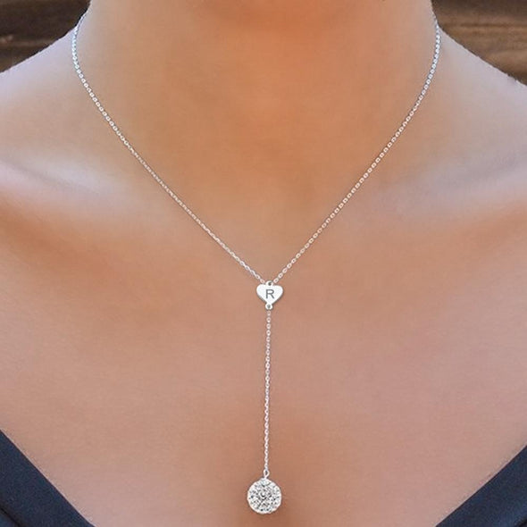 Personalized Lariat Necklace with Crystal Ball.