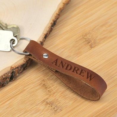 Personalized Genuine Leather Keychain.