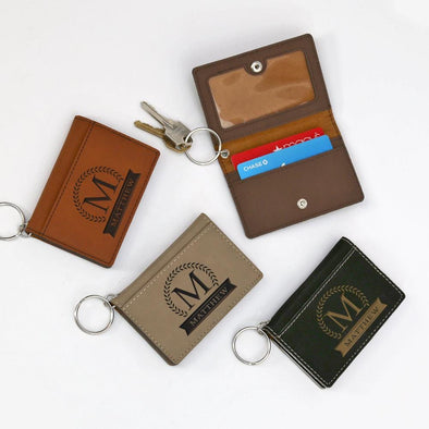Personalized Leatherette Keychain ID Holder.