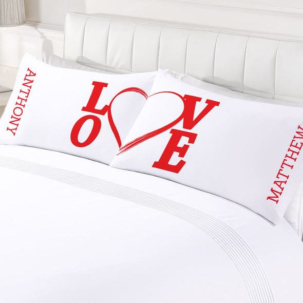 Personalized Love Couples Valentine's Day Sleeping Pillowcase Set.