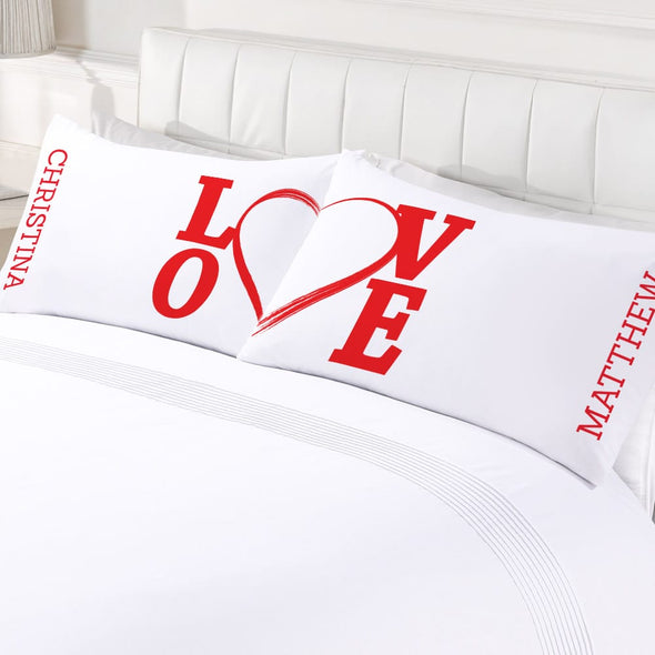 Personalized Love Couples Valentine's Day Sleeping Pillowcase Set